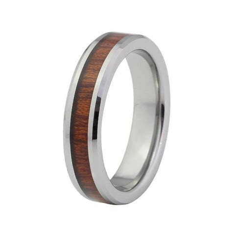 cheap mm red wood inlay tungsten carbide wedding bands