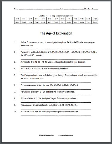 the age of exploration code puzzle worksheet free to