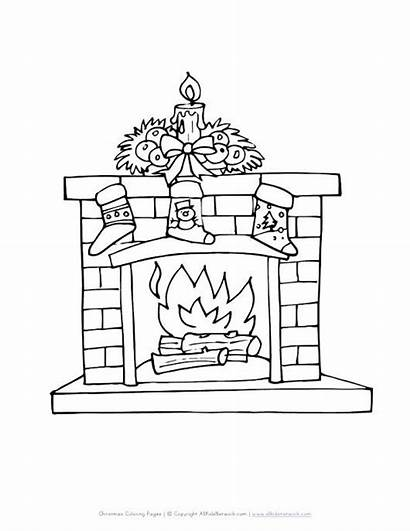 Fireplace Coloring Christmas Drawing Pages Stockings Printable
