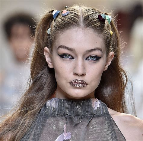 gigi hadids glitter glam runway makeup   home