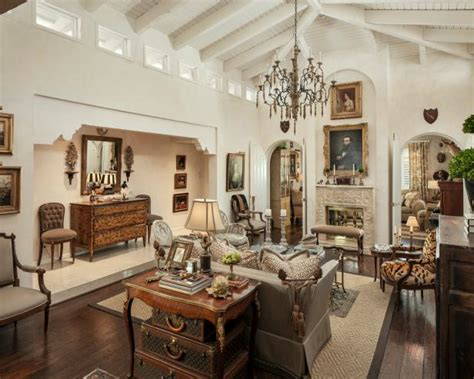 updated traditional country french living room featuring