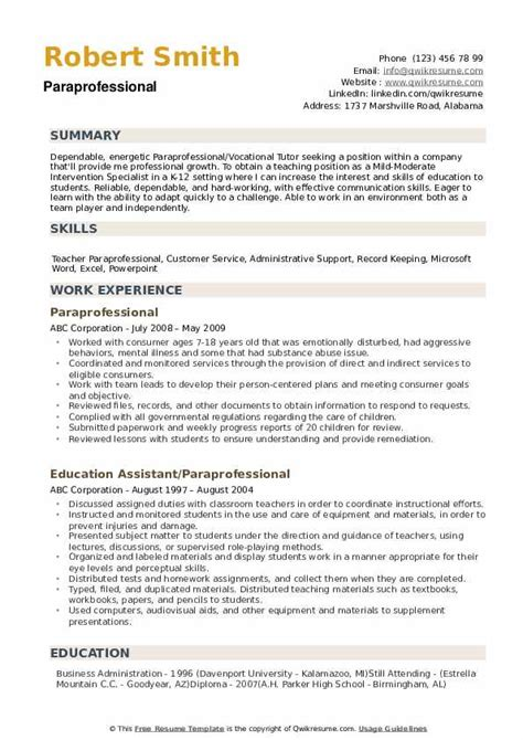 paraprofessional resume samples qwikresume