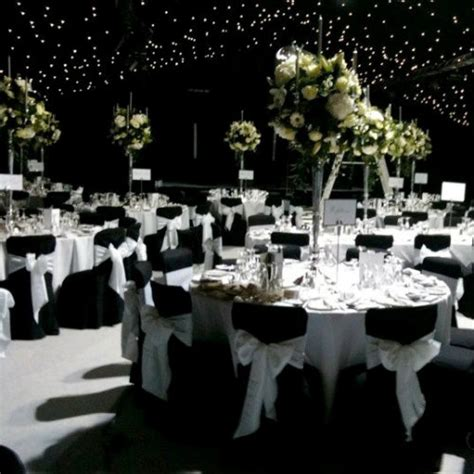 ideas for a black and white wedding theme ambience venue styling