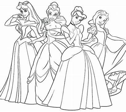 Princess Gambar Coloring Disney Mewarnai Barbie Sketsa