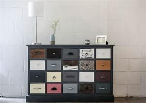 meuble design 20 tiroirs bois colore piece exceptionnelle With couleur de meuble tendance 9 les poignees