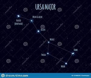 Ursa Major Constellation  Vector Illustration With The