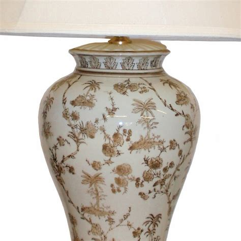 White & Brown Ceramic Table Lamp   Table and bedside lamps