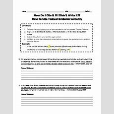 Collection Of Textual Evidence Worksheet  Download Them And Try To Solve
