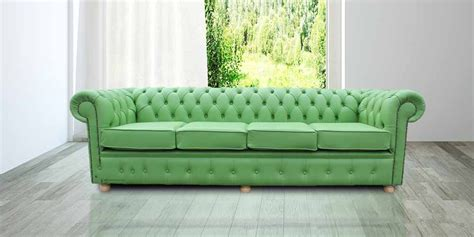 Green Settee by Chesterfield 4 Seater Settee Apple Green Leather Sofa