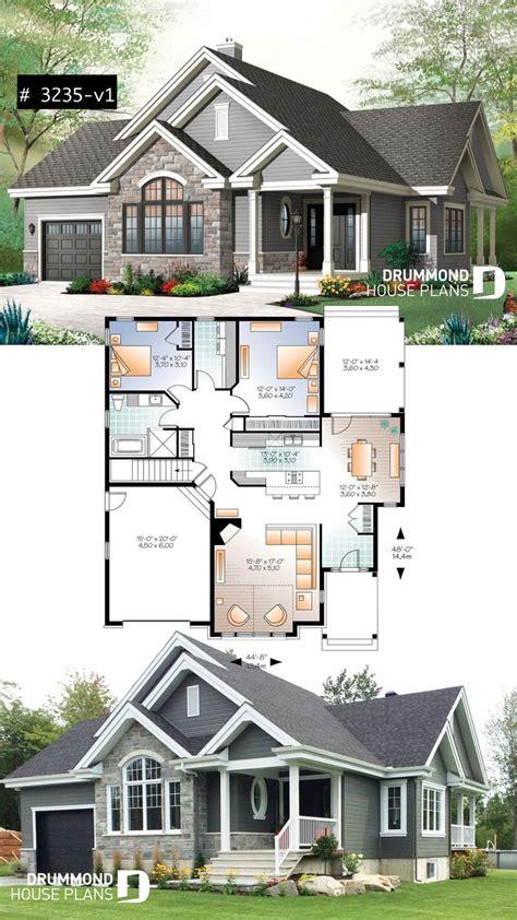 ranch bungalow house plan  galley kitchen open floor plan concept garage  foundation
