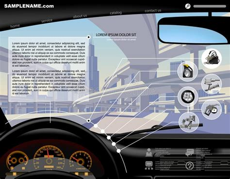 Automobile Website Design by Automobile Service Icons Stock Illustration Illustration