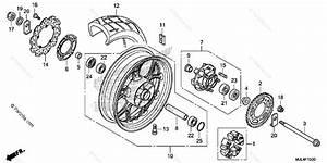 Honda Motorcycle 2014 Oem Parts Diagram For Rear Wheel