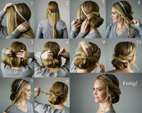 lockerer chignon mit haarband und haarklammern selber