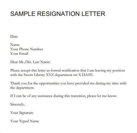 sample resignation letter short notice   documents