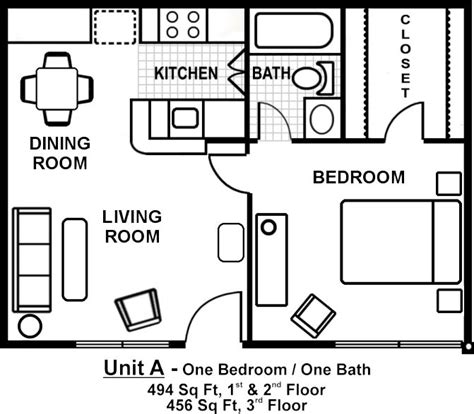 One Bedroom Apartment Layout Plan by Small One Bedroom Apartment Floor Plans Search