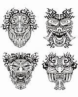 Mayan Maya Inca Incas Aztec Coloring Mask Aztecs Mayans Mayas Aztechi Colorare Disegni Azteken Inkas Colorear Aztecas Masques Coloriage Adults sketch template