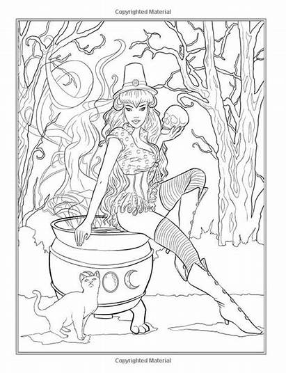Coloring Pages Fairy Halloween Gothic Adult Selina