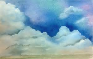 Watercolor Painting Sky Clouds