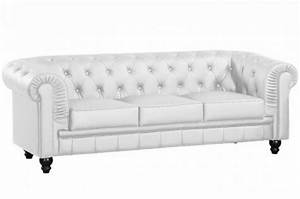 canape chesterfield cuir blanc capitonne 3 places With canapé chesterfield cuir blanc 3 places