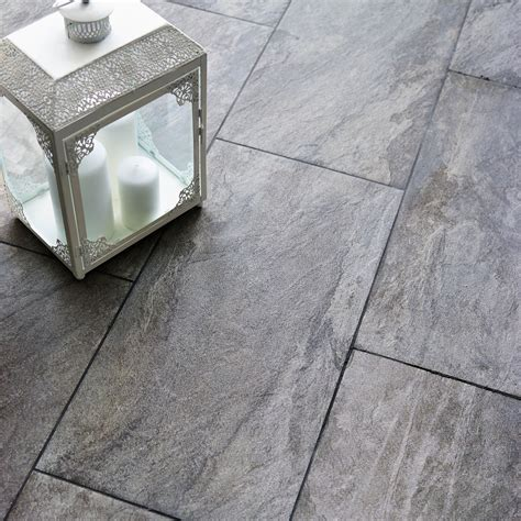 indus dark grey stone effect porcelain wall floor tile