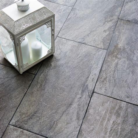 Indus Dark grey Stone effect Porcelain Wall & floor tile