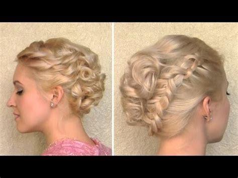 curly wedding updo prom hairstyle  medium long
