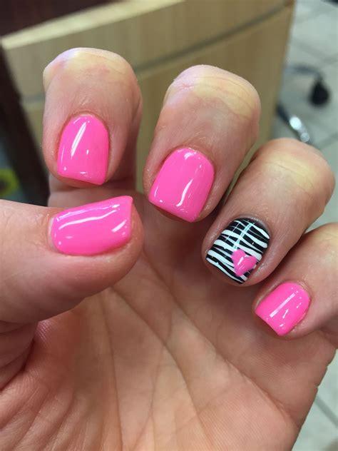 february nail colors gel shellac zebra pink nails