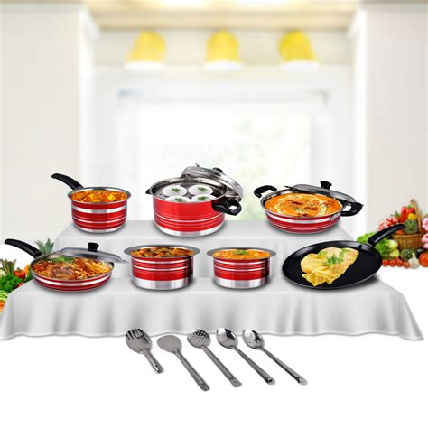 buy  pcs colored stainless steel cookware set    price  india  naaptolcom