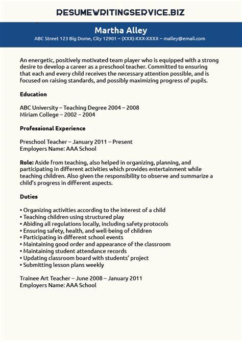 preschool teacher resume sample resume writing service