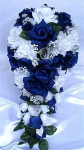 21pc Bridal bouquets wedding Silk flower ROYAL BLUE SILVER ...