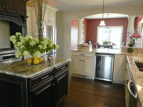 the island kitchen glazed white cabinets with a black island my soon to be 2716