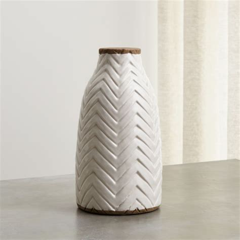 Adra White Chevron Vase + Reviews | Crate and Barrel