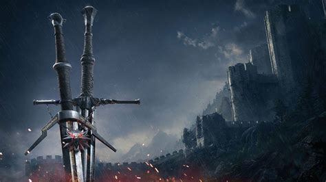 witcher  wild hunt swords animated wallpaper