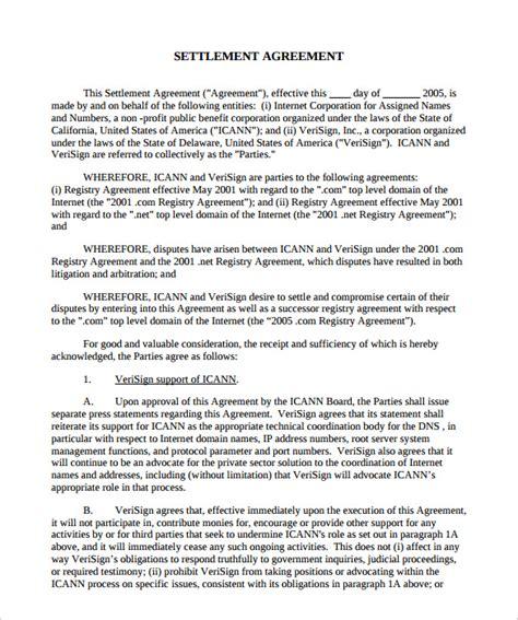 settlement agreement template 12 sle settlement agreements sle templates