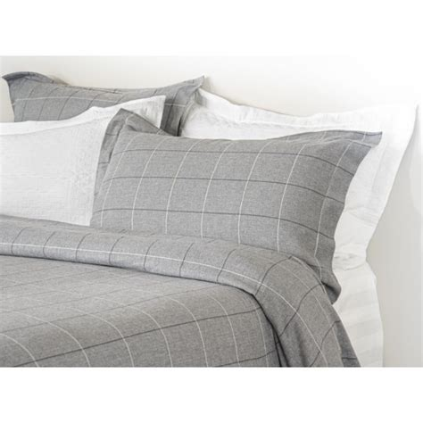 Design Port Bedding by Design Port Acton Grey Windowpane Brushed Cotton Duvet