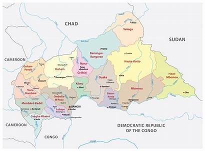 Central Republic African Map Maps Prefectures Political