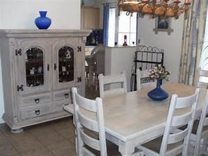 salle a manger complete restauree et cerusee blanc naturel With salle À manger contemporaineavec meuble blanc ceruse salle a manger