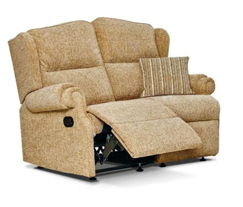 Small 2 Seater Settees by Claremont Small Fabric Reclining 2 Seater Settee F L