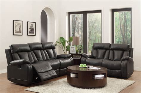 ackerman black reclining living room set  homelegance