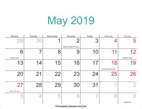 May 2019 Calendar Printable With Holidays Pdf And Jpg