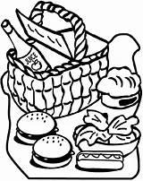 Picnic Coloring Alimentos Colorir Clipart Basket Desenhos Dibujos Ausmalbilder Crayola Colorear Sheets Zum Imagens Comida Dibujo Figuras Printable Ausdrucken Adult sketch template