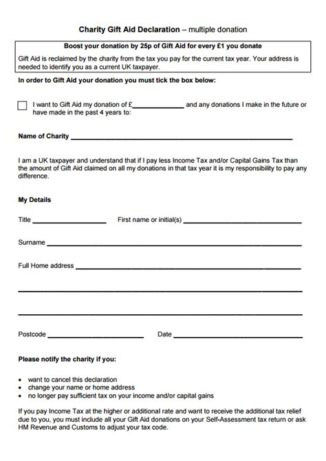 Declaration Document Template by Gift Aid Declaration Template