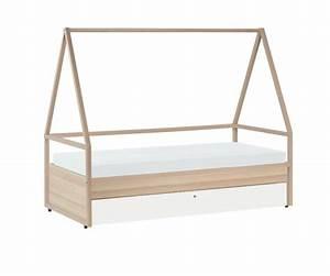 Lit Cabane Avec Tiroir : lit cabane enfant spot de la marque vox en bois clair avec lit gigogne ~ Teatrodelosmanantiales.com Idées de Décoration