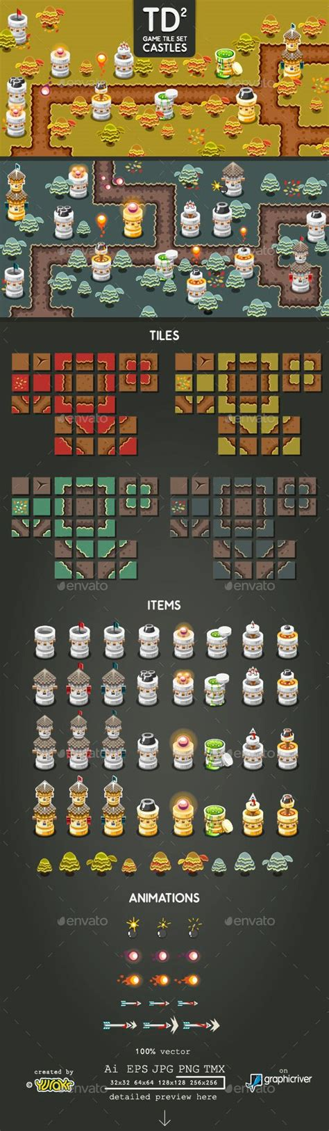 Tower Defence Game Tile Set Two Tilesets Game Assets