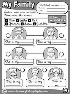 family worksheet  bw version exercicios de ingles