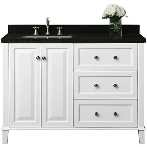 48 inch bathroom vanity right side sink hannah white 48 quot granite top off center left sink vanity