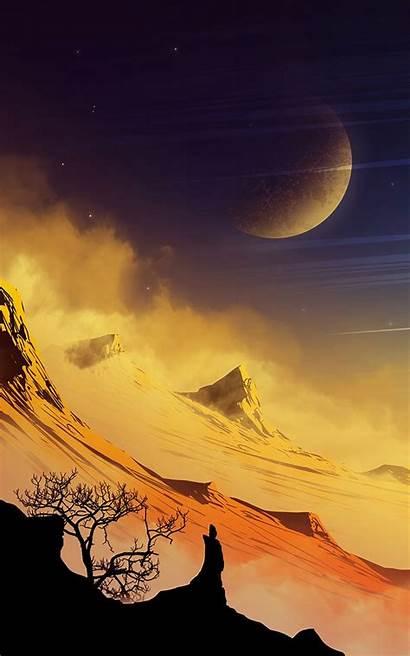 Malam Pemandangan Indah Extraterrestrial Rocks Landscape