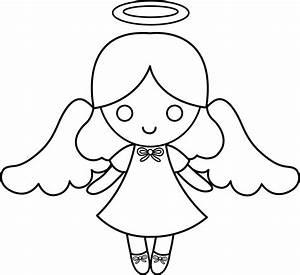 Cute Colorable Little Angel - Free Clip Art