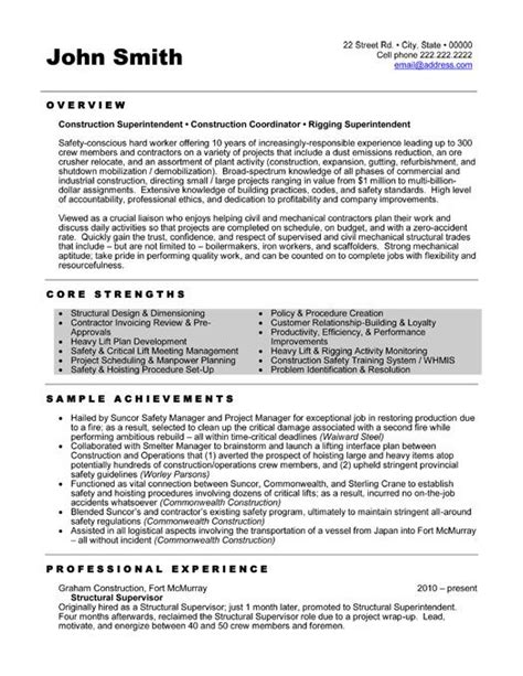 Supervisor Resume Templates by 1000 Images About Best Construction Resume Templates