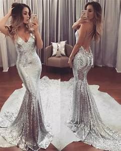 silver bling sequined mermaid prom dresses 2018 chic v With silver sequin wedding dress